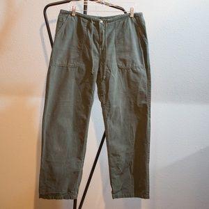 Vintage Gramicci Drawstring Army Green Denim Pants